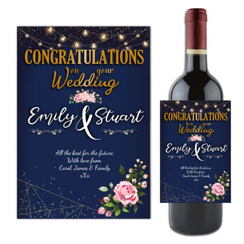 Personalised Wedding Congratulations Wine / Champagne Bottle Label N127